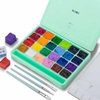 HIMI Gouache Paint Set, 24 Colors x 30ml Unique Jelly Cup Design with 3 Paint
