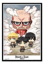 Framed Attack On Titan Chibi Group Poster New