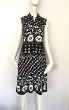 Vintage Retro 1960s Crimplene Black White Floral Sleeveless Dress S to M 8 to 10