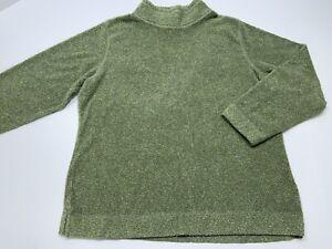 Women's LL BEAN Cozy Fleece Pullover Sweater Mock Neck Green Size Large Reg