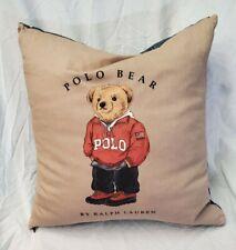 """Ralph Lauren Polo Bear Pillow Brown Blue Denim Zips Goose Down Feathers 17""""x17"""""""