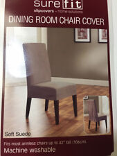 Overstock Smooth Suede Shorty Dining Room Chair Cover in Taupe Tan NIP NEW