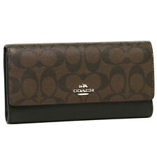 Beautiful NWT Signature Trifold Authentic COACH Wallet in Dark Brown