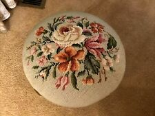 Vintage Handmade Floral Roses Needlepoint Rd Footstool Queen Anne Legs Ottoman