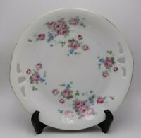 """Antique Germany Romany Handled Cake Plate White w/ Pink and Blue Flowers 9 1/4"""""""
