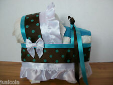 BEAUTIFUL BLUE BROWN BOY DIAPER BASSINET BABY SHOWER WASHCLOTH CENTERPIECE NEW