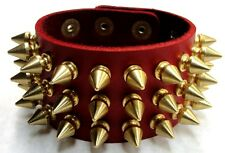 Red Full Grain Leather 3 Row Spiked Wristband Bracelet Cuff Brass Gold Punk Stud