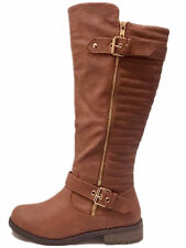 Forever Mango-21 Women's Quilted Zipper Buckle Knee High Riding Boots Size 8.5