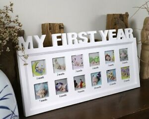 MY FIRST YEAR 0-12 Month Baby  Pictures Display Plastic Photo Frame, Memory Gift