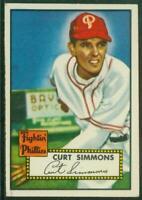 1952 Topps, #203, Curt Simmons, Philadelphia Phillies, EX-EX/MT, Nice Centering