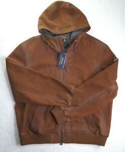 POLO RALPH LAUREN Men's Brown Lamb Leather Suede Hooded Bomber Jacket XXL NWT
