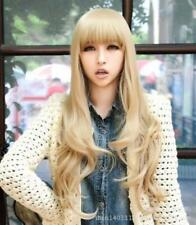 Korea fashion long curly blonde cosplay wigs ringlet heat resistant girl L19#
