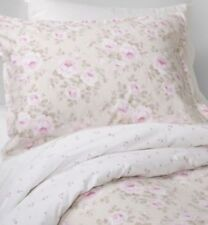 TWO Simply Shabby Chic Duchess Blossom Rose Floral STANDARD Shams, Tan Pink NEW