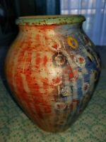 Italian Thrown Pottery Vase Hand Painted Made in Italy Lovely Colors