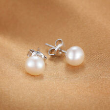 Classic Freshwater Pearl Stud Earrings Solid Sterling Silver Special Occassion