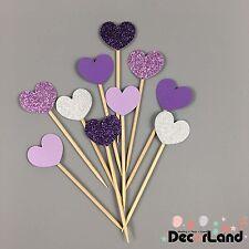 10Pcs Glitter Purple Lanvender Silver Heart Cupcake Toppers Picks Party Decor