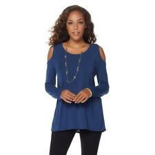 LYSSE Cold-Shoulders Long Sleeves Chiffon Modal Top Blue Shadow Small Size HSN