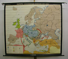 Schulwandkarte alte Europakarte Kanzler Bismarck Kaiser Wilhelm II 146x134c 1969