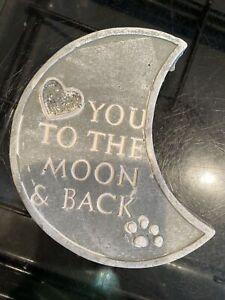 Moon Paw Print Plaque Latex Rubber Mold Mould Love You Animal Garden Memorial