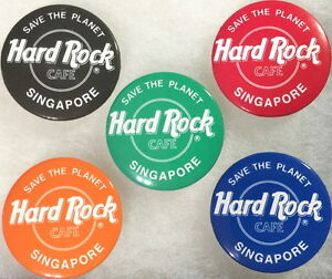 """Hard Rock Cafe SINGAPORE 1990s 5 BUTTON PIN Set with """"Save The Planet"""" HRC LOGOS"""
