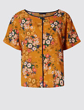 Ex Marks and Spencer Collection PETITE Floral Print Orange Short Sleeve Top