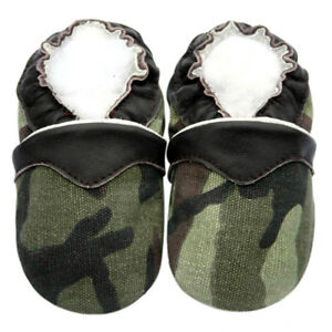 Boy Shoes Soft Sole Leather Baby Infant Toddler Kids Boy Camoflage Green 18-24M