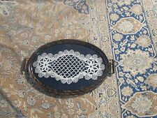 Antique Wooden Open Handle Serving Tray With Crochet Lace Doily Under Glass