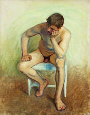 Male Nude Seated on a Chair by Eugene Jansson, giclee art canvas print