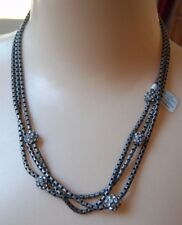 Matte Silver Necklace -Rv $128 New Lia Sophia Kiam Family Caleigh cut crystal