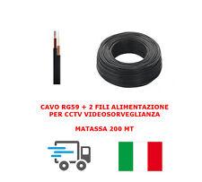 MATASSA CAVO VIDEO COASSIALE RG59 + 2 FILI ALIMENTAZIONE 200MT CCTV X TELECAMERE