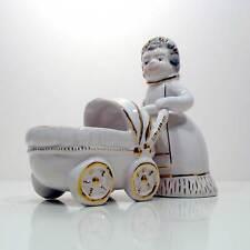 Nurse con carrozzina in ceramica Coronetti Cunardo anni '50 antica vintage v149
