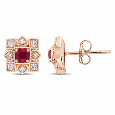 10k Rose Gold Ruby and Diamond Clustered Square Halo Artisanal Stud Earrings