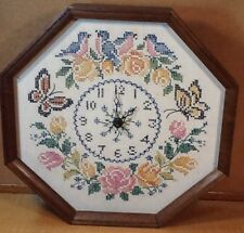 ANTIQUE NEEDLEPOINT OCTAGON SHAPED CLOCK- FLORAL, BIRDS AND BUTTERFLIES ON LINEN