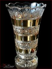 "Bohemian Crystal Flowers Vase 31 cm, ""Mona Liza"" Gold, New!"