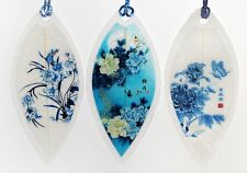 Blue Flowers Real Leaf Bookmarks, 3 pc Asian Painting Lucky Charm Book Markers