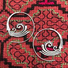 Art Nouveau Tribal Spiral Silver Plated Earrings