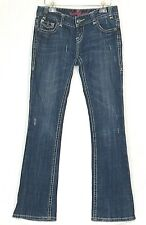Rock & Roll Cowgirl Low Rise 28x34 Blue Jeans Dark Wash Distressed Embroidered