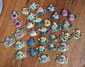 "Floral Teapot Flatbacks Flower Tea Pot LOT32 New Mixed Media Altered Art 2""-3"""