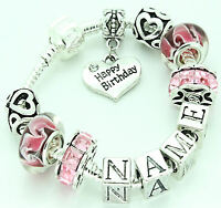 Personalised Charm Bracelet Girls Childrens Pink Silver Beads Any Name Gifts