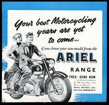 1958 Ariel motorcycle illustrated vintage print ad