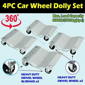 4PC Car Dolly Vehicle Wheel Positioning Jack Transport Dollies 6000lbs Load