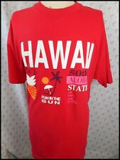 Vintage 80s Red Cotton Hawaii Fun In The Sun Aloha State USA Made T-shirt XL