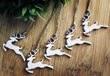 Xmas Tree Decoration Rustic Nordic White Wooden Hanging reindeer x5