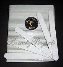 "(50pcs) Zebra 80/100 Grit Professional Acrylic Nail Files Sanding File 7"" USA"