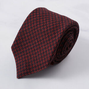 Isaia Red and Navy Blue Woven Basket Check Soft Wool Tie NWT