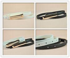 Ladies Slim Fashion Waist Belt Dress Access Thin Skinny PU Leather Belt Women 02