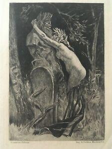 """FÉLICIEN ROPS """"Curieuse / Curious"""" Original Etching 1885 Erotica Symbolism"""