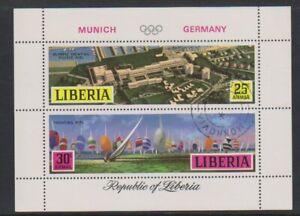 Liberia - 1971, Jeux Olympiques, Munich Feuille - Cto - Sg MS1073