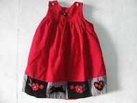 EUC Red Black White Jumper Girls Dress Size 5 Corduroy Christmas Scottie Dog