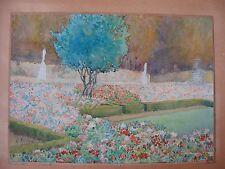 dessin ancien aquarelle  vue du parc du château de Versailles
